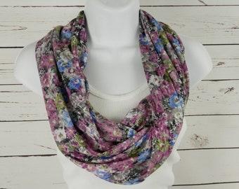 Floral Infinity Scarf, Orchid Purple, Cornflower Blue, Multi Color Flower Print Scarf, Super Soft Burnout Jersey Knit Single Loop Scarf