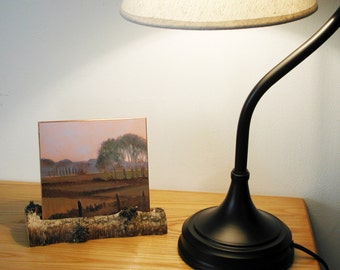 Small Landscape Oil Painting on Reflective Copper Small Fields in Skagit Valley in a Natural Birch Twig Stand to display on Desk or Shelf