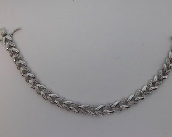 925 Sterling Silver With Overlay Diamond Accents Vintage Link Bracelet