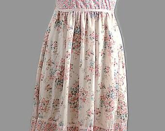 Boho Vintage PInk Cotton Sun Dress 1970 Gunne Sak Style Dress Size XS