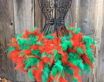 Xmas Feather tutu, custom tutu, feather dress, costume, dress up, tulle tutu, xmas feather tutu, feather tutu, holiday tutu, christmas tutu
