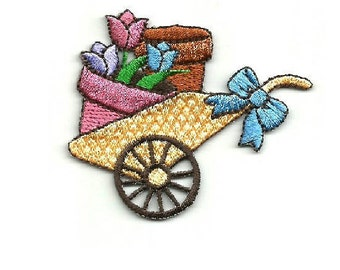 Gardening - Spring - Planting - Flowers - Embroidered Iron On Applique Patch