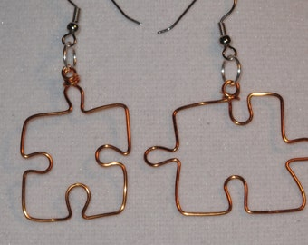 Wire Wrapped Puzzle Piece Earrings MADE to ORDER