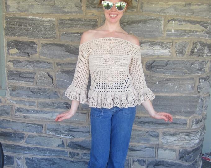 OFFSHOULDER SWEATER,  Bohemian clothing, crochet sweater  festival clothing, beachcover,  beachwear, jumper, boho ruffled top, gypsy wear