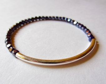 Silver Tube Bracelet Beaded Stretch Bracelet Navy Blue Czech Glass Bead Bracelet Simple Minimalist Jewelry