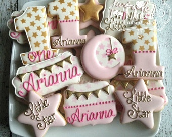 Twinkle Twinkle Little Star First Birthday Baby Shower Pink and Gold Cookies