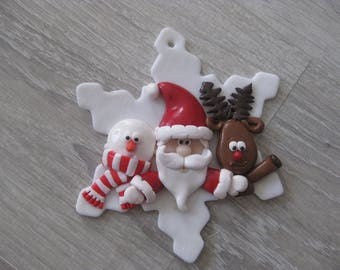 Big snowflakes in polymer clay decorated with characters in polymer clay (of your choice)