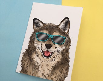 Sunny wolf blank A6 greeting card, white envelope, blank card inside, wolf in sunglasses, summer print, smiling wolf.