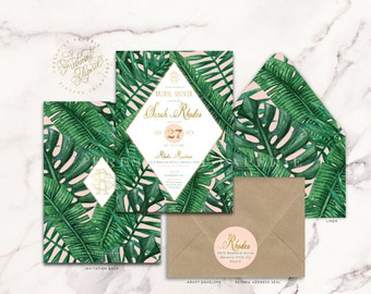 Tropical invitation - banana leaf invitation - bridal shower invitation - palm tree invitation - baby shower - freshmint paperie