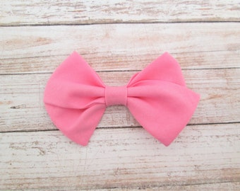 Bubblegum Pink Hand-Tied Fabric Bow Clip or Nylon Headband / Sailor Bow Headband / Pink Hand Tied Bow / Pink Bow Clip / Pink Bow Headband