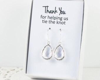 Crystal Silver Teardrop Earrings, Silver Crystal Earrings, Bridesmaid Gift, Crystal Wedding Jewelry, Bridesmaid Earrings, Bridesmaid Jewelry