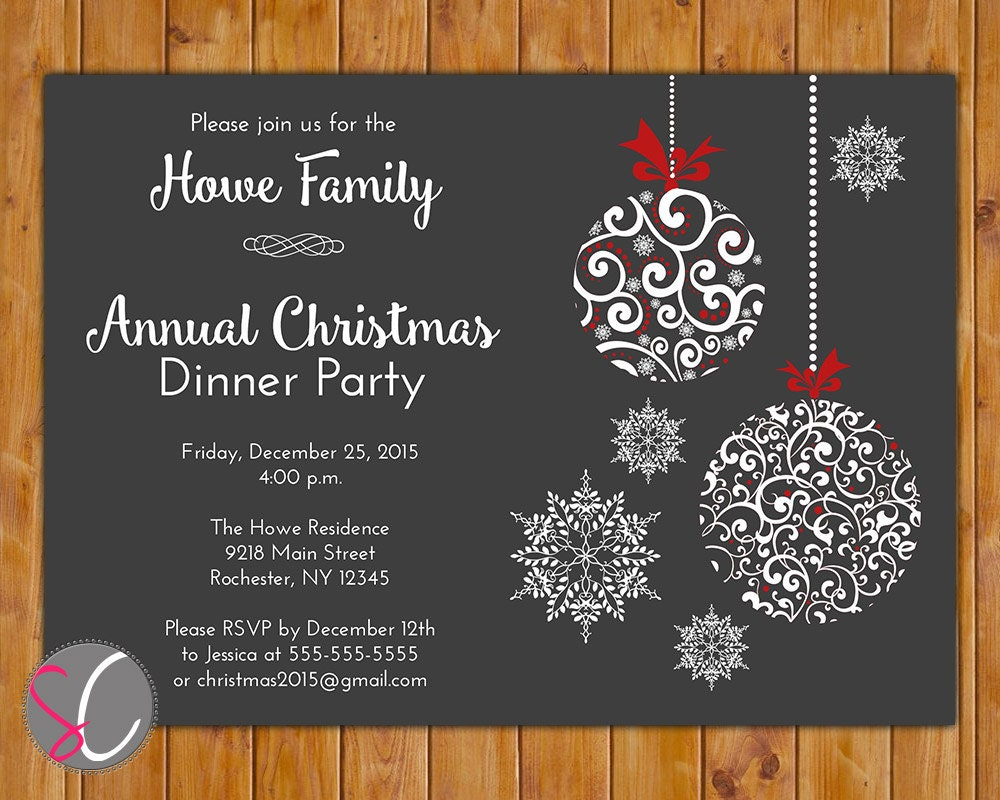 Annual Christmas Dinner Party Invite Celebration Holiday - Annual holiday party invitation template