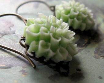 Green Flower Earrings, Gift for Her Jewelry