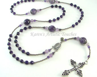 Purple Amethyst Gemstone Stainless Steel Rosary Necklace