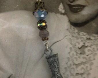 My LADY'S BOOT silvertone filigree bintage assemblage earrings, ipscaled/repurposed, altered art, mixrd media
