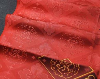 "13.7""w. x 28.6""l. Vintage silk kimono fabric red flower card 2984L"