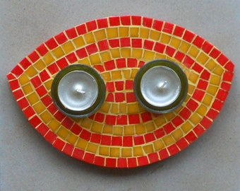 Candles or red and yellow glass mosaic candle holder