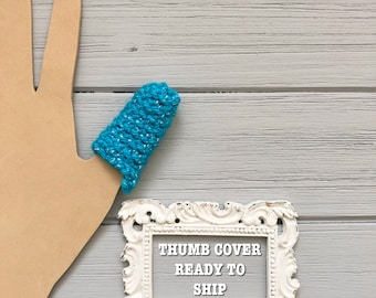 Dermatillomania Thumb Cover - Long Term Bandage - Excoriation Disorder Thumb Guard - Help Stop Skin Picking - Blue Sparkle - Ready to Ship