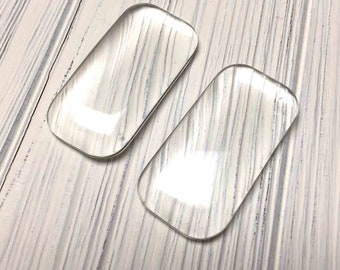 Puffy Glass Rectangle Glass Shapes. Clear. Domed Top. Domino Size.  1 x 2 inches. 5mm Thick. Four (4)