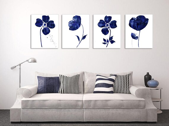 4 piece wall art navy blue floral print floral wall art set abstract