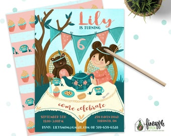 Tea Party Birthday Invitations invitation Girl High tea DIY custom printable Pink Teal coral teddy bear picnic