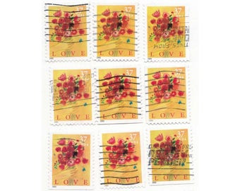 15 love bouquet stamps, USA postage stamps - Vintage used Stamps, floral