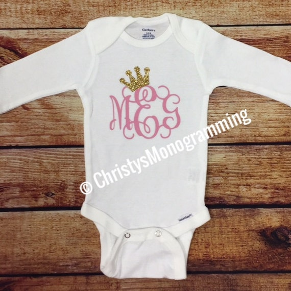 monogrammed baby onesie with initials and crown tiara infant