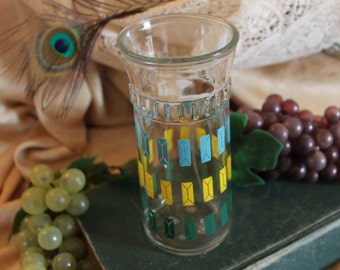 Anchor Hocking Mid Century Tumbler Glass with Blue, Yellow, and Green Diamonds