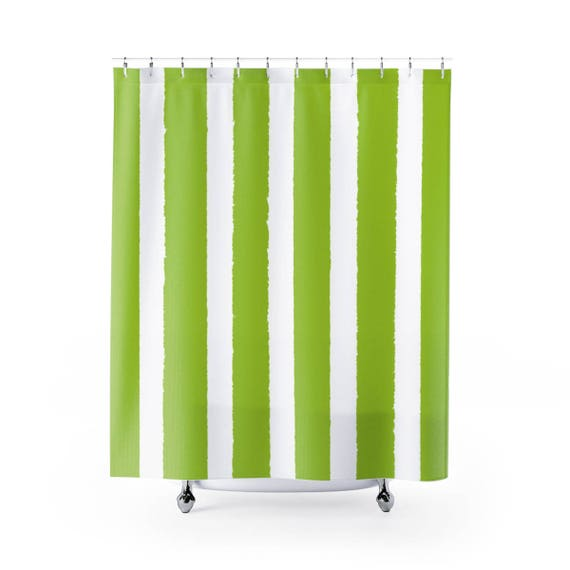 Lime Shower Curtain . Lime Green Striped Shower Curtain . Modern Lime Shower Curtain . Shower Curtain . Lime Striped Shower Curtain