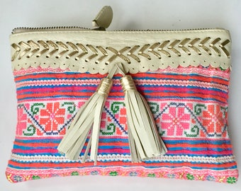 Cream-Gold Leather Clutch ,Hand Made Fabric,Boho,Ethnic