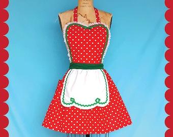 Christmas apron, retro Christmas apron, Red  Polka Dot apron, full apron,  holiday hostess apron,  Santas helper apron or elf costume