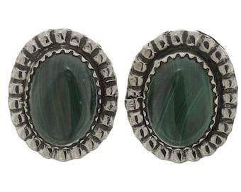 Silver Earrings Handmade Navajo Posts Malachite Green