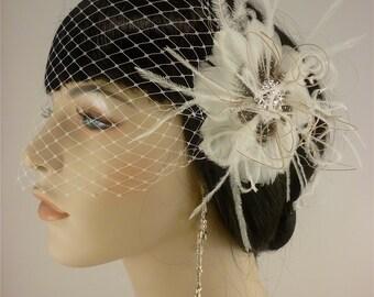 20s Headpiece,  20s Fascinator, Wedding Head Piece, Bridal Hair Clip, Bridal Headpiece, Gatsby Headpiece, Wedding Hair Clip, Wedding Veil
