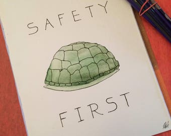 Safety First Turtle Original Painting