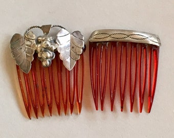 Vintage Native and Mexican Silver Hair Combs