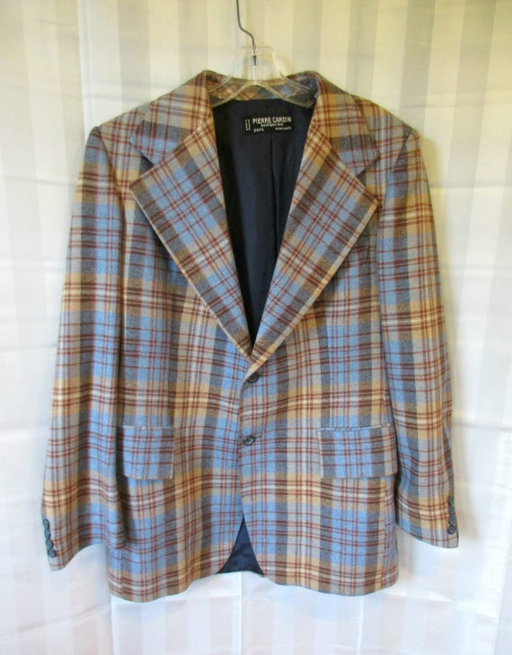 Vintage 1970's Pierre Cardin Blue & Brown Plaid Sport Coat - Size 38 MtBv3xK