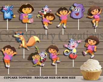 Dora the Explorer Cupcake Toppers, Die Cuts, Birthday Party Cupcake Toppers