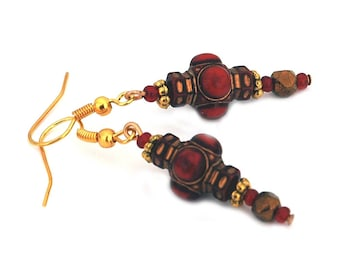 Beaded Red and Gold Drop Earrings, Tibetan Style Design