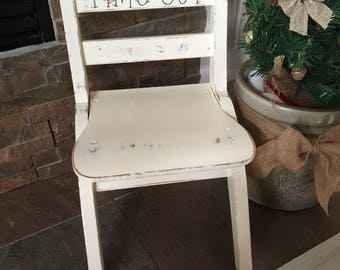 Children's Time Out Chair-White Wooden Time Out Chair-Handpainted Time Out Chair