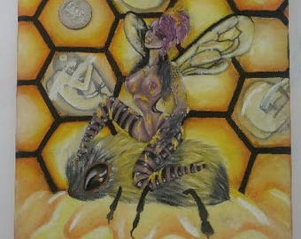 "8"" X 10"" Queen Bee Oil Painting"