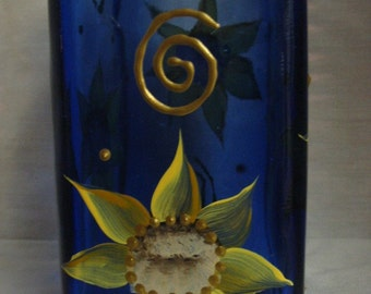 Blue Square Hand painted Sunflower Bottle