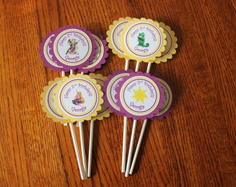 Tangled Cupcake Toppers - Tangled Party  - Rapunzel Party - Rapunzel Cupcake Topper - Birthday Party