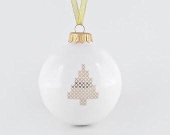 Big Christmas Bauble with Christmas Tree, Porcelain Christmas Ornament, Christmas Gift