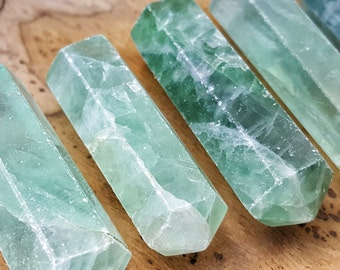 Green Fluorite Crystal Double Terminated Point  - Hand Cut Natural Stone Point for Crystal Grids or Terrarium 245