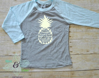 Youth Pineapple Shirt-Be a Pineapple Raglan t-shirt for kids