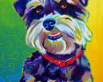 Miniature Schnauzer, Pet Portrait, DawgArt, Dog Art, Pet Portrait Artist, Colorful Pet Portrait, Schnauzer Art, Pet Portrait Painting