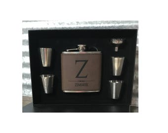 Personalized 6oz set Dark Brown, Light Brown or Grey Leather/Leatherette Stainless Steel Flask w/Funnel & Shot Glasses