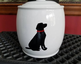 Painted dog treat jar, black lab jar, dog cookie treat jar, hand painted jar