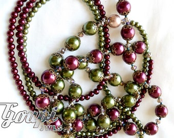 Romantic vintage style pearl necklace, burgundy red necklace and green necklace