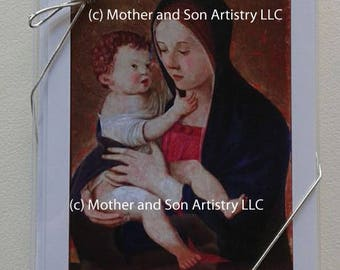 Cards with Madonna and Child, by Bellini. 5 Blank cards and envelopes.